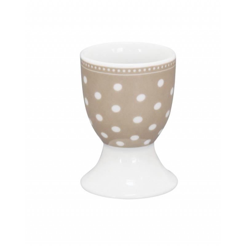 krasilnikoff eierbecher punkte taupe mit wei en punkten aus der krasilnikoff geschirr serie. Black Bedroom Furniture Sets. Home Design Ideas