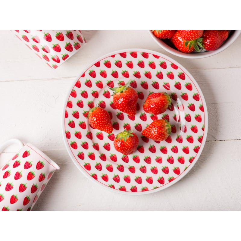 Krasilnikoff Erdbeer Geschirr aus Porzellan Kuchenteller Milchkännchen und Becher mit Erdbeeren