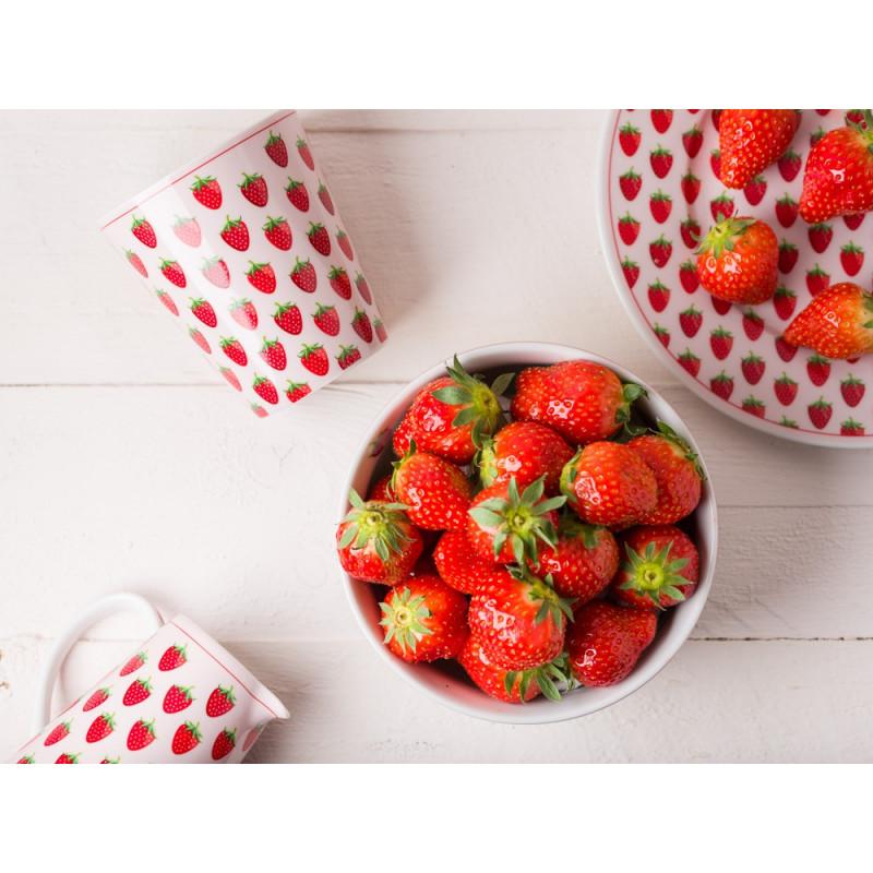 Krasilnikoff Erdbeer Geschirr Becher Teller Schale und Milchkännchen in rosa mit roten Erdbeeren