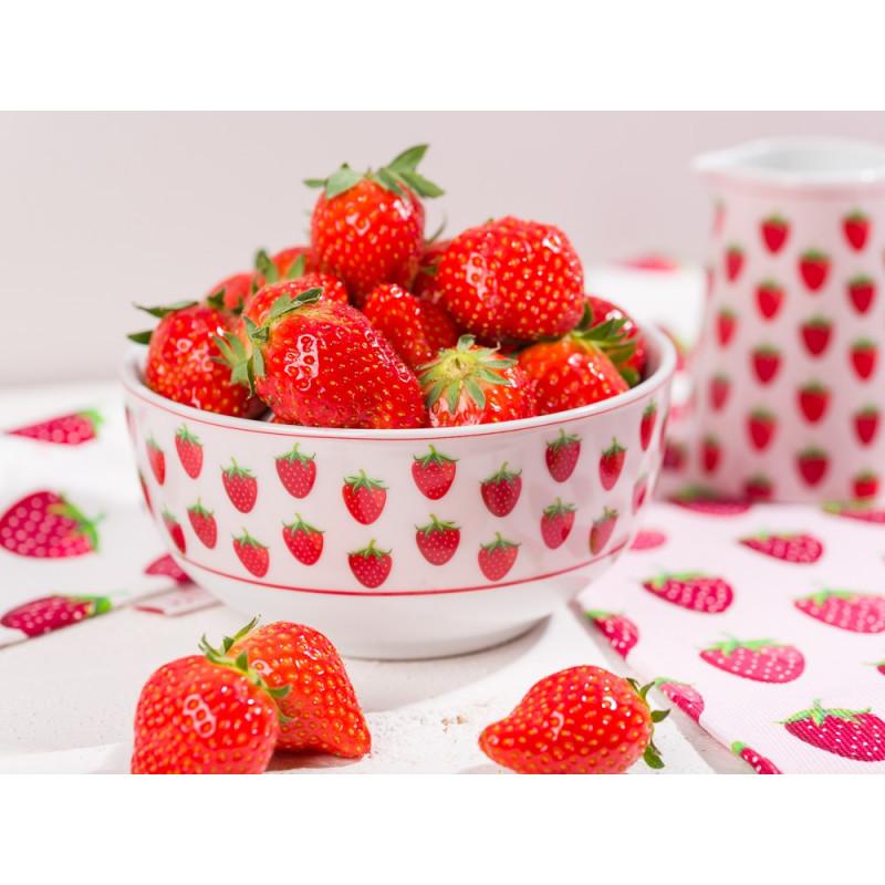 Krasilnikoff Erdbeer Geschirr Rosa Schale Milchkännchen und Tischset mit roten Erdbeeren