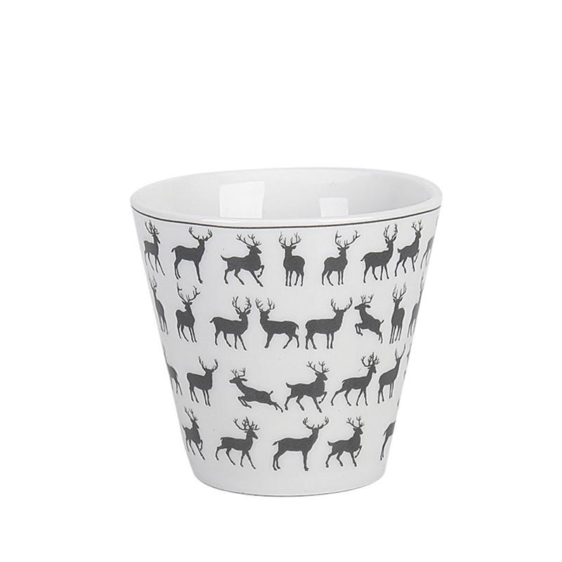 Krasilnikoff Espresso Tasse Deers weiß Porzellan Becher 80 ml mit Hirsche in grau Model ES453