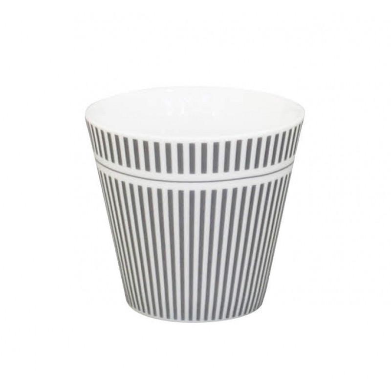 Krasilnikoff Espresso Tasse Nadelstreifen Design grau weiß aus Porzellan ohne Henkel Längsstreifen dunkelgrau für 80 ml