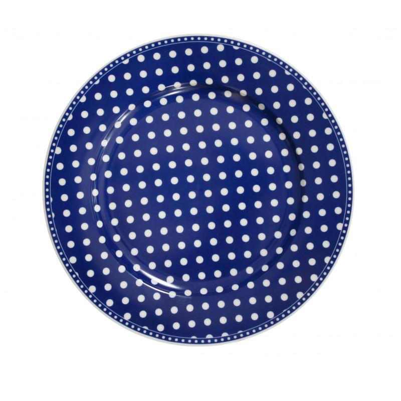 Krasilnikoff Essteller dunkelblau mit weißen Punkten aus Porzellan