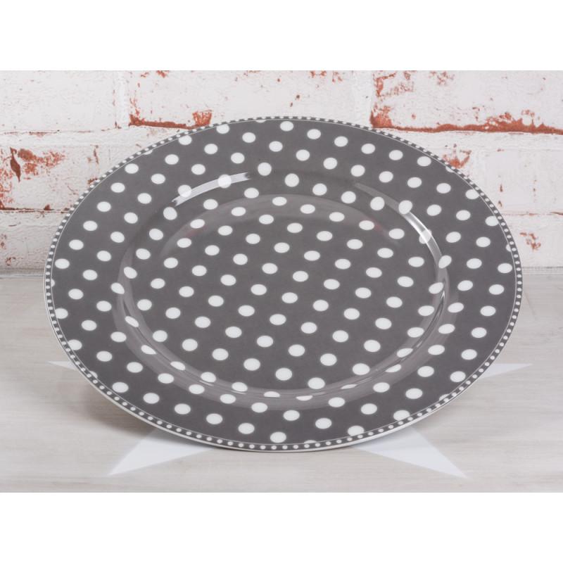 Krasilnikoff Essteller dunkelgrau Punkte weiß grau Porzellan Teller groß Geschirr Serie Dots charcoal