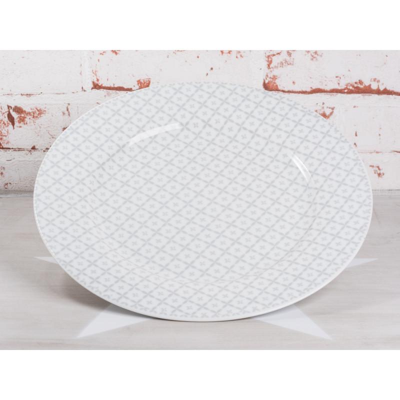 Krasilnikoff Essteller hellgrau Art Blumen Design weiß grau Porzellan Teller groß Geschirr Serie New Diagonal grey