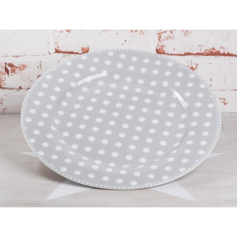 Krasilnikoff Essteller hellgrau Punkte weiß grau Porzellan Teller groß Geschirr Serie Dots grey