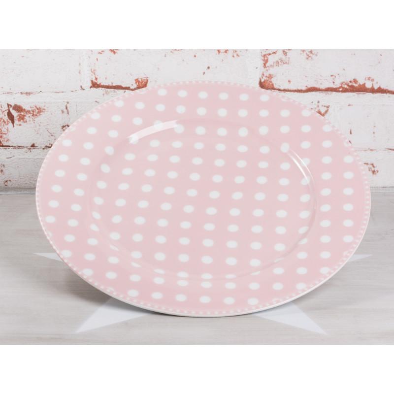 Krasilnikoff Essteller rosa Punkte weiß Porzellan Teller groß Geschirr Serie Dots pink