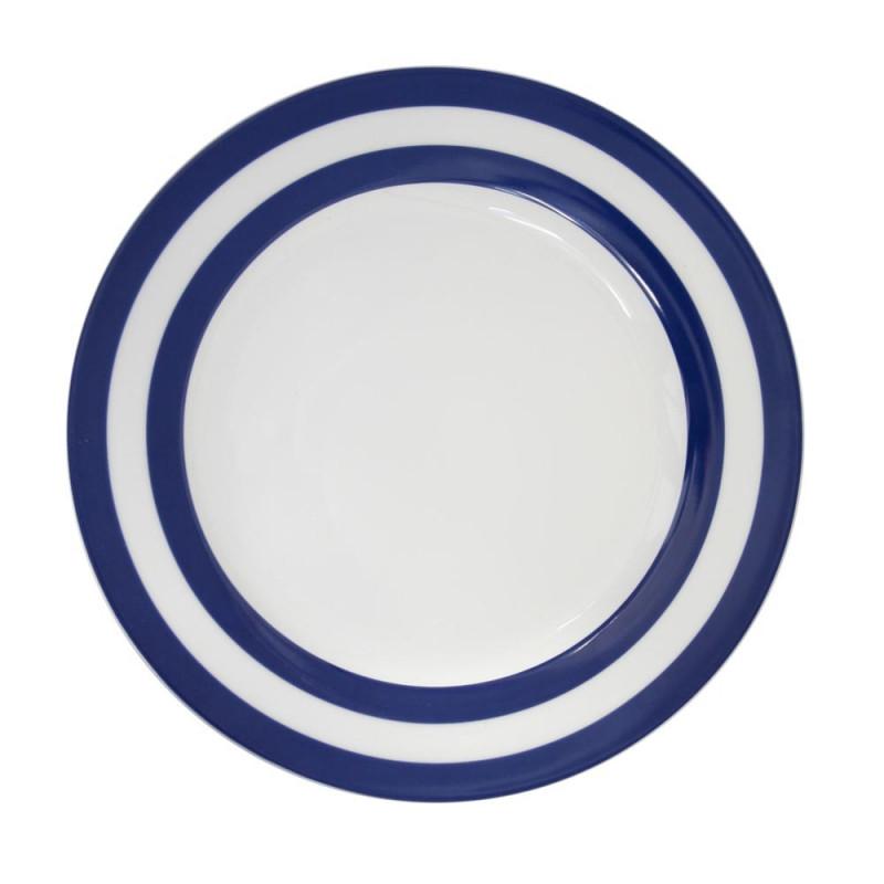 Krasilnikoff Essteller Streifen dunkelblau weiß Teller blau gestreift