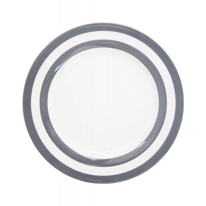 Krasilnikoff Essteller Streifen dunkelgrau weiß 26 cm