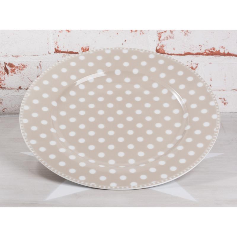 Krasilnikoff Essteller taupe Punkte weiß Porzellan Teller groß Geschirr Serie Dots sand