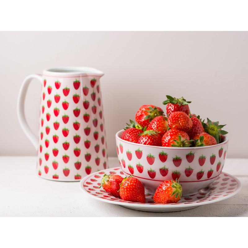 Krasilnikoff Geschirr Erdbeere Krug Teller und Schale in rosa mit roten Erdbeeren