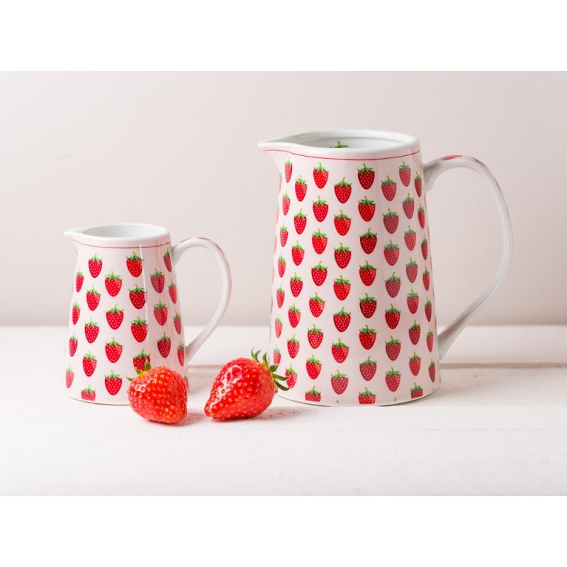 Krasilnikoff Geschirr Erdbeere Krug und Milchkaennchen in rosa mit roten Erdbeeren