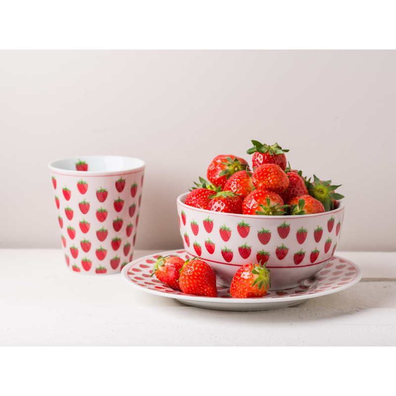 Krasilnikoff Geschirr mit Erdbeeren Kuchenteller Müslischale und Happy Mug Becher