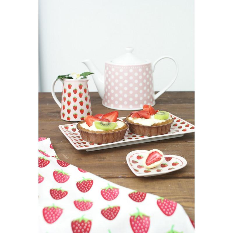 Krasilnikoff Geschirrtuch Tablett Kuchenteller Kanne mit Erdbeeren und Teekanne mit rosa Punkten