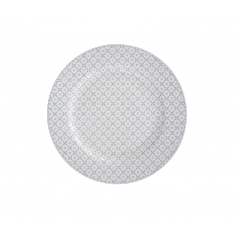 Krasilnikoff Happy Dessert Plate Kuchenteller Diagonal Muster hellgrau weiß Teller