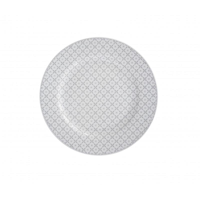Krasilnikoff Happy Dinner Plate Essteller Diagonal Muster hellgrau weiß Teller