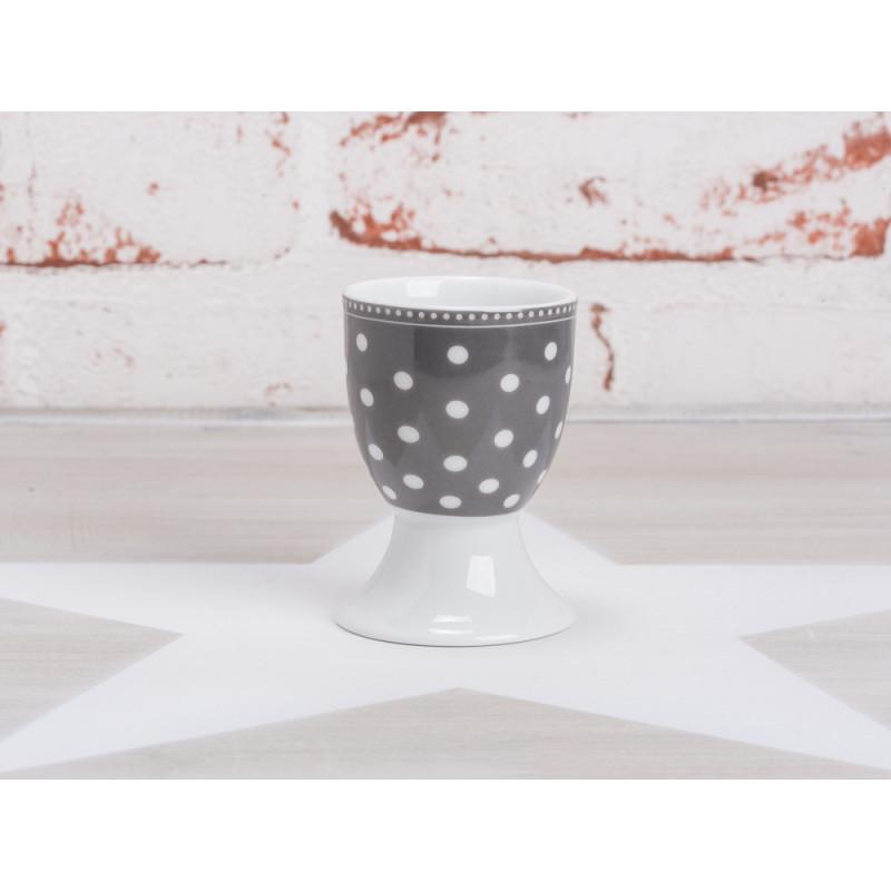 krasilnikoff eierbecher punkte dunkelgrau mit wei en punkten aus der krasilnikoff geschirr. Black Bedroom Furniture Sets. Home Design Ideas