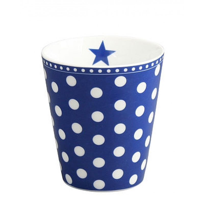 Krasilnikoff Happy Mug Becher dunkelblau mit weißen Punkten aus Porzellan ohne Henkel