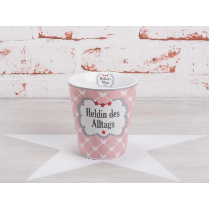 krasilnikoff happy mug becher heldin des alltags rosa mit wei en herzen roten sternen und. Black Bedroom Furniture Sets. Home Design Ideas