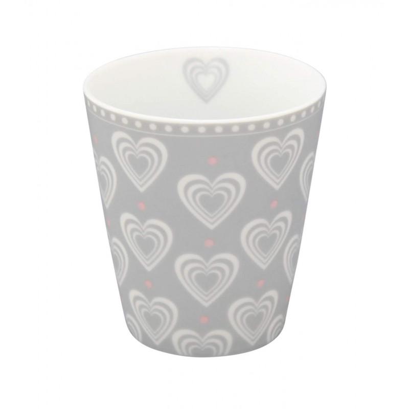 Krasilnikoff Happy Mug Becher hellgrau mit Herzen weiß in 3D Optik aus Porzellan ohne Henkel