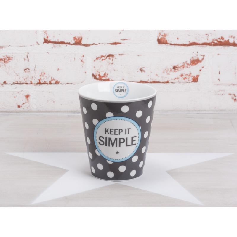 Krasilnikoff Happy Mug Becher Keep it simple dunkelgrau Punkte weiß Porzellan Geschirr Serie mit Spruch