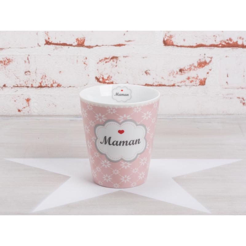 Krasilnikoff Happy Mug Becher Maman rosa pink mit weißen Blumen im Diagonal Print Design Porzellan Geschirr Serie mit Spruch