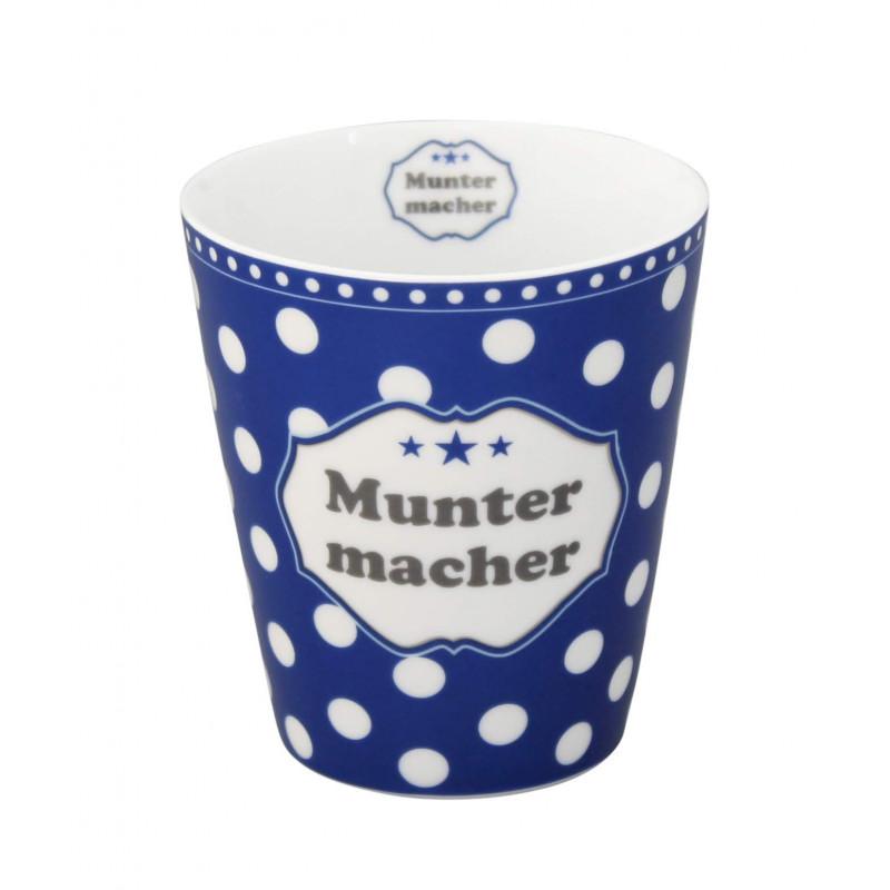 Krasilnikoff Happy Mug Becher Muntermacher dunkelblau mit weißen Punkten aus Porzellan ohne Henkel