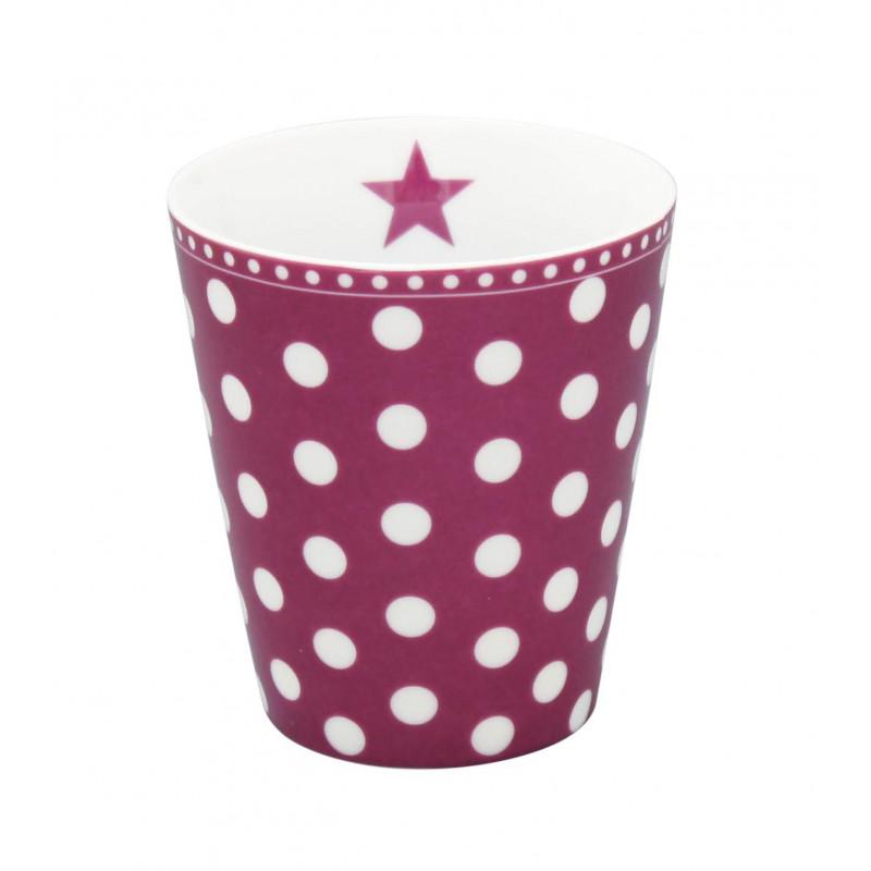 Krasilnikoff Happy Mug Becher Pflaume mit weißen Punkten aus Porzellan ohne Henkel