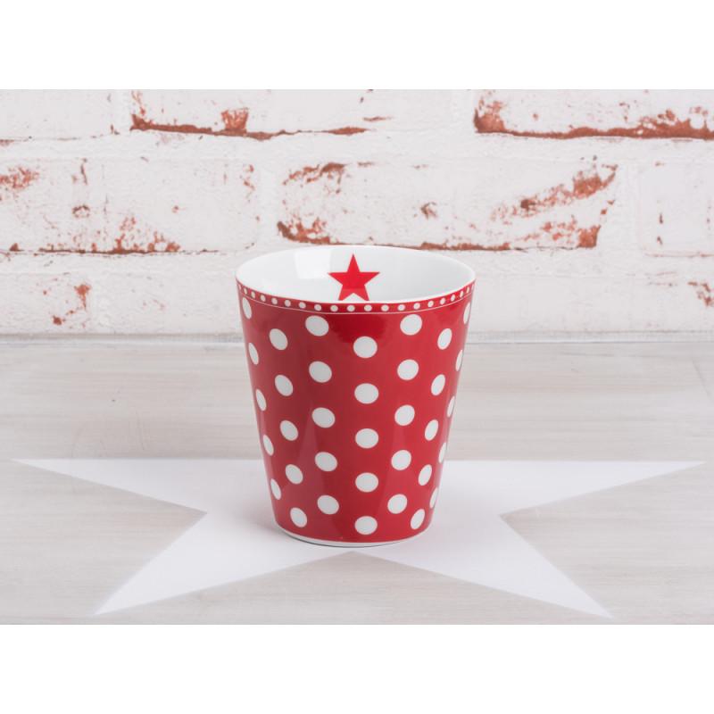 happy mug becher punkte rot mit wei en punkten von krasilnikoff. Black Bedroom Furniture Sets. Home Design Ideas