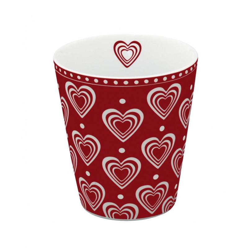 Krasilnikoff Happy Mug Becher rot mit Herzen weiß in 3D Optik aus Porzellan ohne Henkel