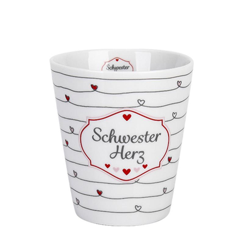Krasilnikoff Happy Mug Becher Schwester Herz Porzellan weiß mit Herzen 250 ML Kaffeetasse Model HM433
