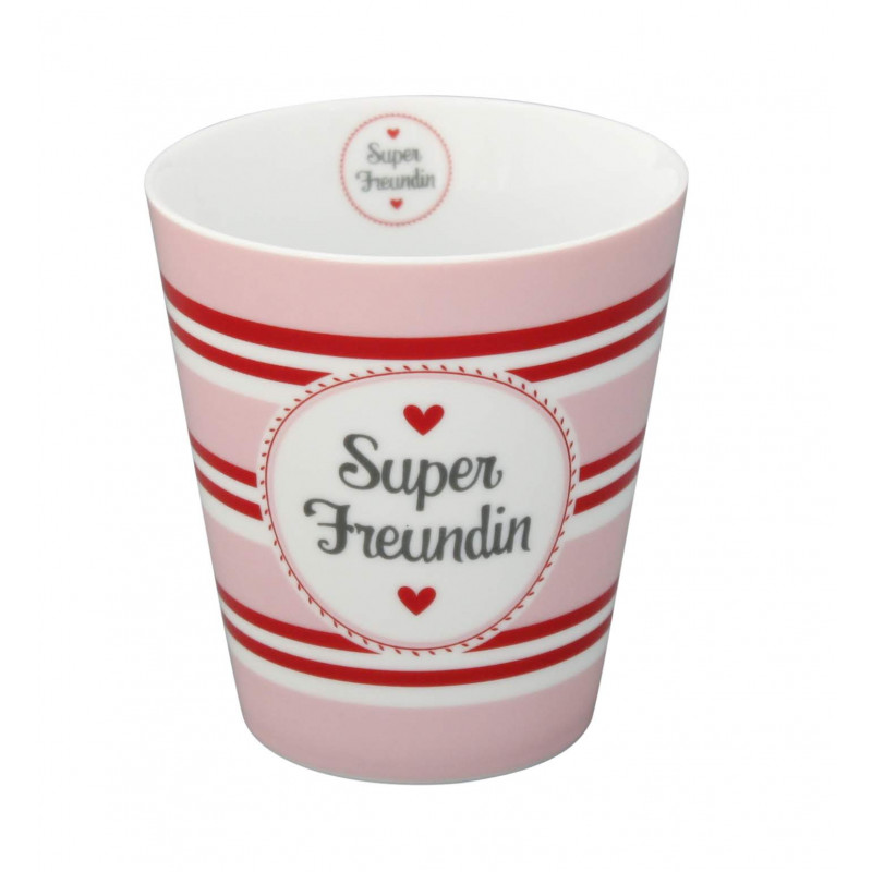Krasilnikoff Happy Mug Becher Super Freundin rosa pink rot mit Streifen und Herzen aus Porzellan ohne Henkel