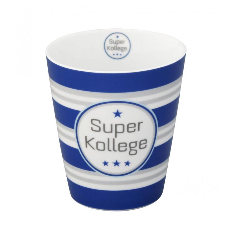 Krasilnikoff Happy Mug Becher Super Kollege blau grau Streifen aus Porzellan ohne Henkel