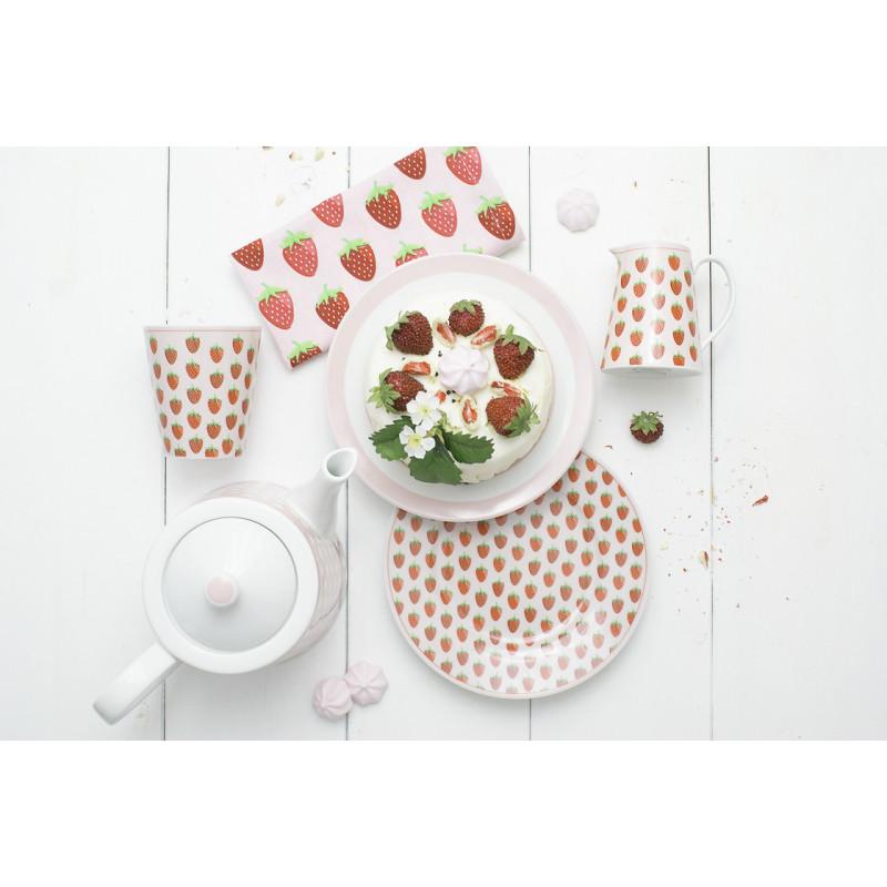 Krasilnikoff Happy Mug Becher Teller Kanne und Geschirrtuch rosa mit Erdbeeren Kuchenteller rosa Streifen und Teekanne mit Punkte