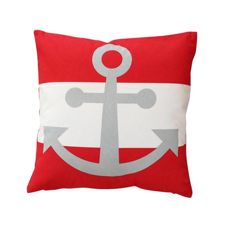 Krasilnikoff Kissen Anker rot weiß mit Blockstreifen maritime Kissenhülle
