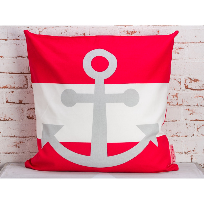 Krasilnikoff Kissen Anker rot weiß Streifen Kissenhülle 50x50 Maritime Deko