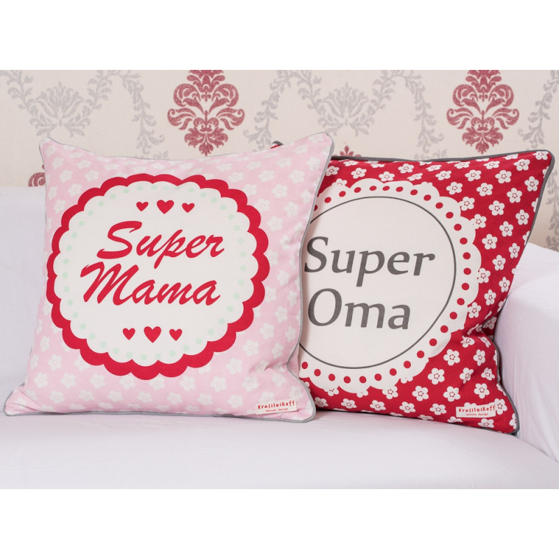 Krasilnikoff Kissen Super Mama und Oma