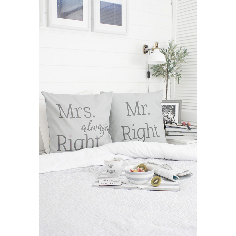 Krasilnikoff Kissenhülle Mr Right und Mr always Right grau Baumwolle Tablett Tasse grau gestreift Frühstück