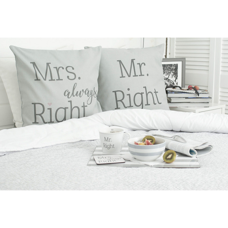 Krasilnikoff Kissenhülle Mr Right und Mr always Right grau Baumwolle Tablett Tasse grau gestreift