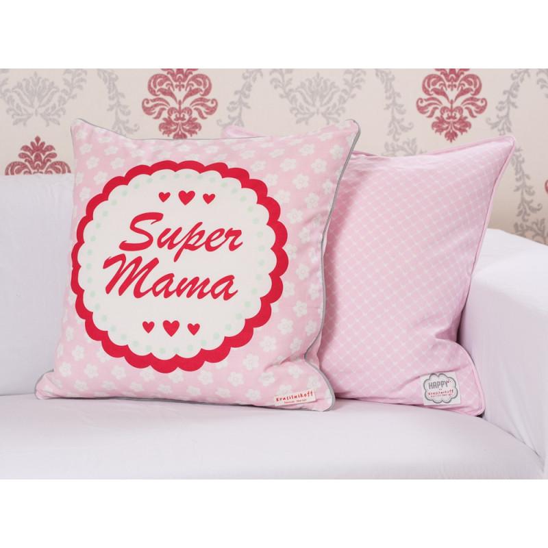 Krasilnikoff Kissenhülle 50x50 Herzen rosa und Super Mama