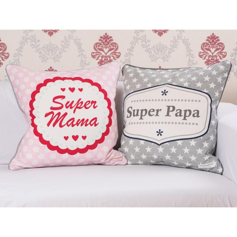 Krasilnikoff Kissenhülle Super Mama und Super Papa