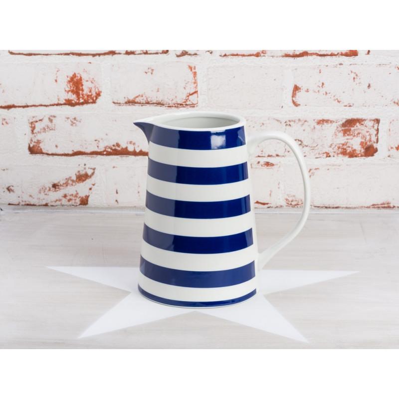Krasilnikoff Krug Streifen blau Kanne in weiß dunkelblau gestreift Maritim aus Porzellan