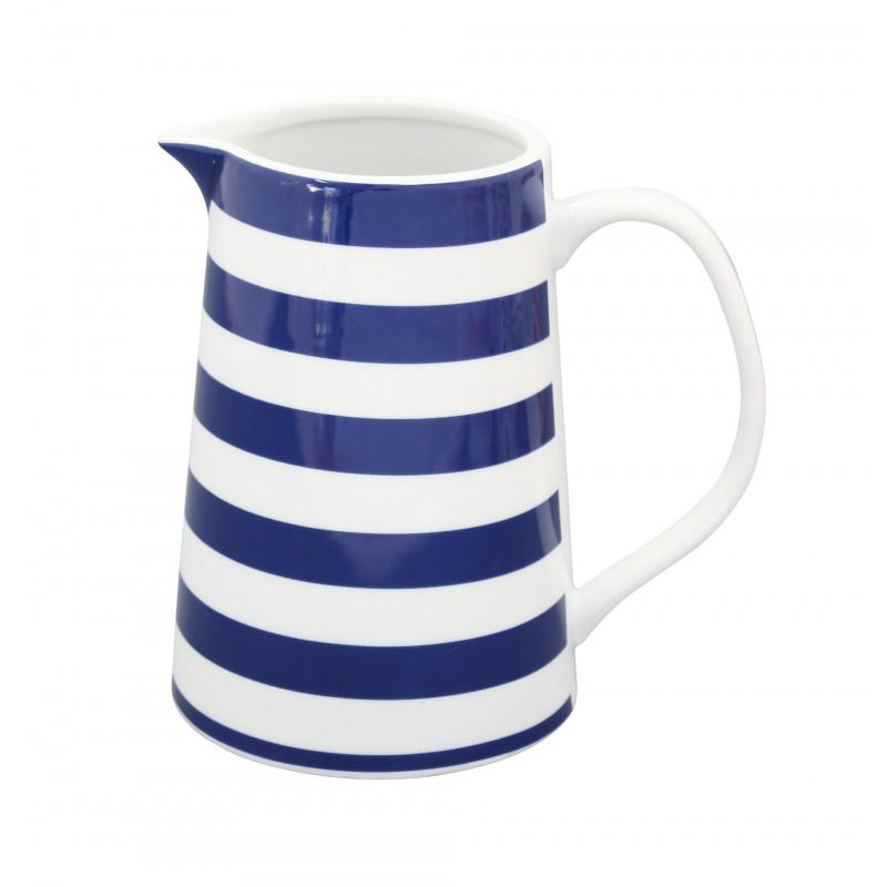 Krasilnikoff Krug Streifen dunkelblau Porzellan Kanne gestreift blau weiß
