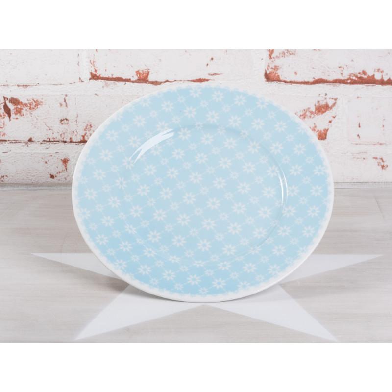 Krasilnikoff Kuchenteller hellblau Blumen weiß blau geblümt Porzellan Teller Geschirr Serie Flowers Diagonal blue