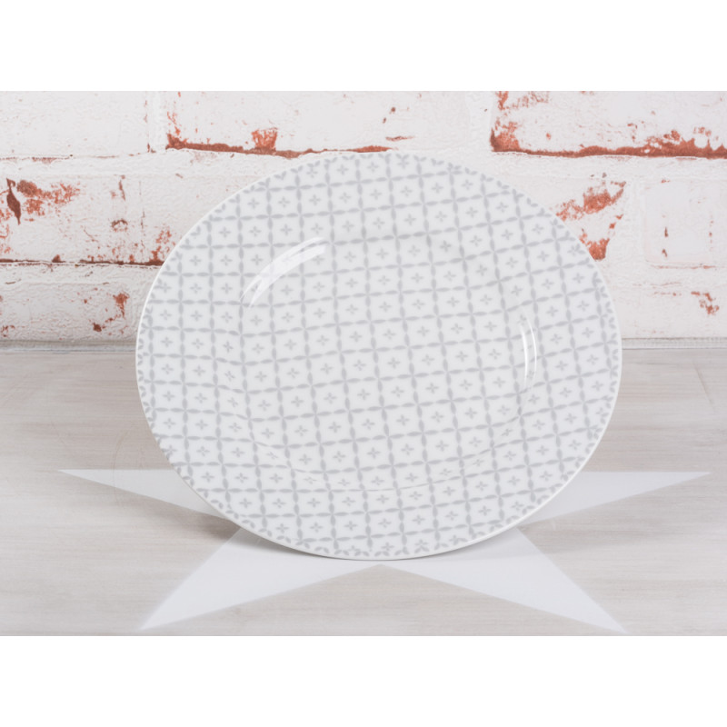 Krasilnikoff Kuchenteller hellgrau Art Blumen Design weiß grau Porzellan Teller Geschirr Serie New Diagonal grey