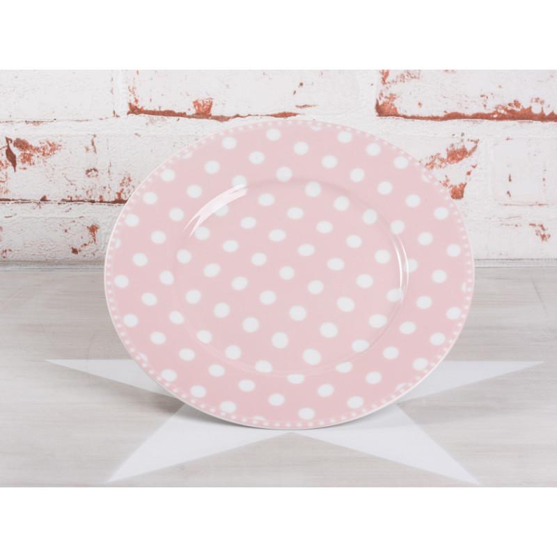Krasilnikoff Kuchenteller rosa Punkte weiß pink gepunktet Porzellan Teller Geschirr Serie New Dots