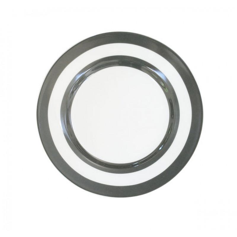 Krasilnikoff Kuchenteller Streifen dunkelgrau weiß 20 cm