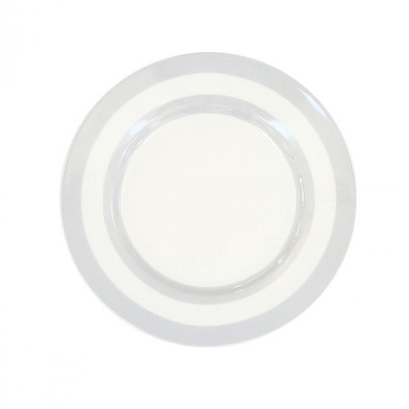 Krasilnikoff Kuchenteller Streifen hellgrau weiß 20 cm