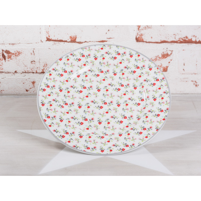 Krasilnikoff Kuchenteller weiß Blumen bunt Porzellan Teller Geschirr Serie Romantic Flower