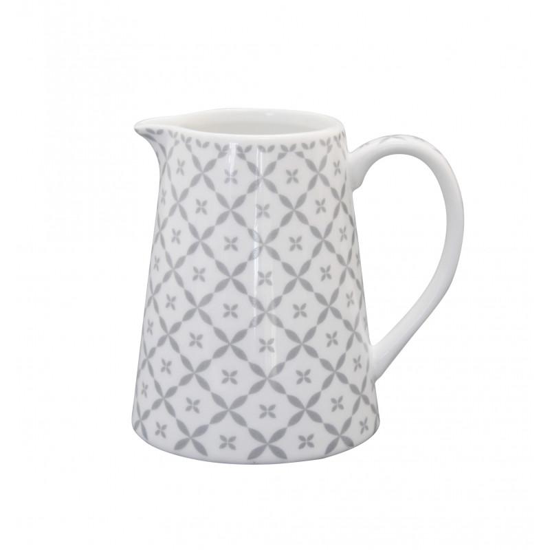 Krasilnikoff Milchkännchen aus Porzellan Diagonal Muster hellgrau weiß